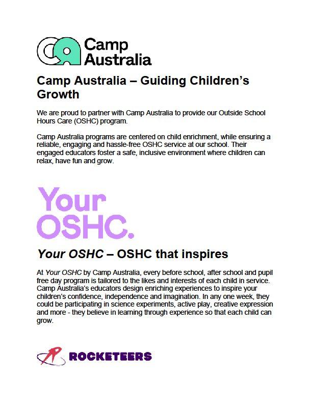 Camp Australia information